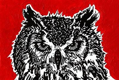 Lino Painting - Redder Hotter Eagle Owl by Julia Forsyth