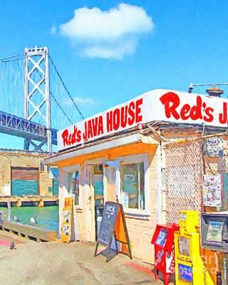 Bay Area Digital Art - Reds Java House And The Bay Bridge At San Francisco Embarcadero by Wingsdomain Art and Photography