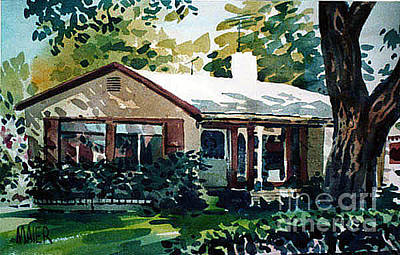 House Portrait Painting - Redwood City House #1 by Donald Maier