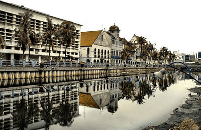 Reflection Of Old Buildings Print by Aris and Ressy