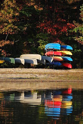 Reflections Of Canoes And Kayaks Print by Donna Harding