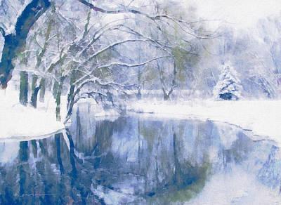 Snow-covered Landscape Mixed Media - Reflections Of Winter by Georgiana Romanovna