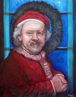 Christmas Greeting Painting - Rembrandt Santa by Tom Roderick