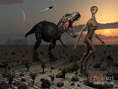 Telepathy Digital Art - Reptoids Tame Dinosaurs Using Telepathy by Mark Stevenson