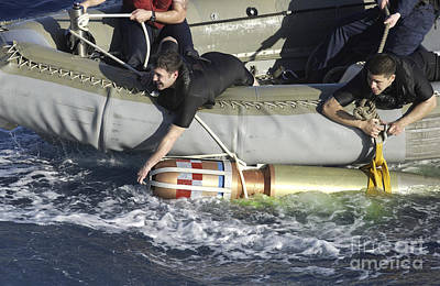 Inflatable Photograph - Rescue Swimmers Pull A 480-pound by Stocktrek Images