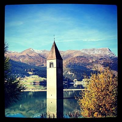 Mountain Photograph - Reshen Lake - South Tyrol by Luisa Azzolini