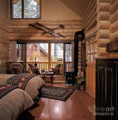 Cabin Window Photograph - Resort Log Cabin Interior by Robert Pisano