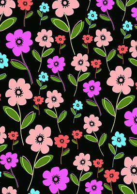 Loud Digital Art - Retro Florals by Louisa Knight