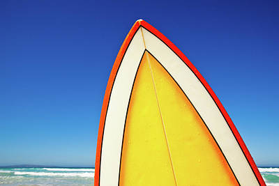 Retro Surf Board At Beach, Australia Print by John White Photos