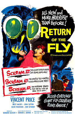 1950s Movies Photograph - Return Of The Fly, Top Right Danielle by Everett