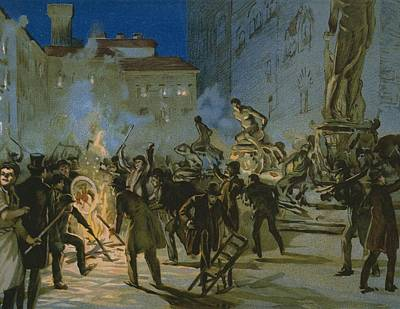 Uprising Painting - Revolution In Florence by Italian School
