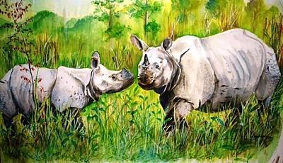 One Horned Rhino Painting - Rhinos In Kaziranga by Deb Gohain