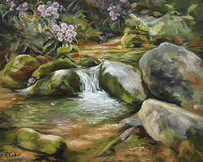 Babbling Brook Painting - Rhododendron's Song by Katherine Tucker