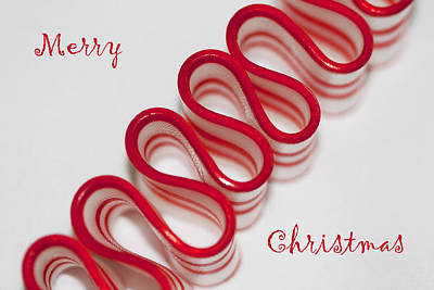 Ribbon Candy Peppermint Merry Christmas Print by Kathy Clark