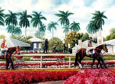 Horse Painting - Riders Up At Gulfstream by Thomas Allen Pauly
