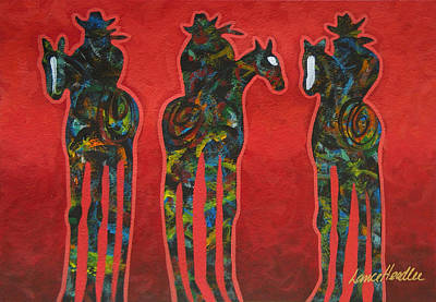 Western Painting - Riding Red by Lance Headlee