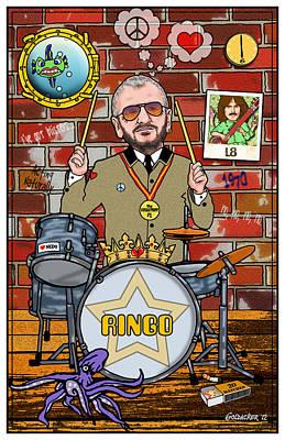 Fab Four Digital Art - Ringo Starr by John Goldacker