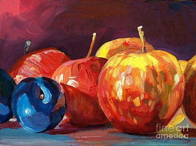 Organic Painting - Ripe Plums And Apples by David Lloyd Glover