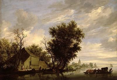 River Scene With A Ferry Boat Print by Salomon van Ruysdael