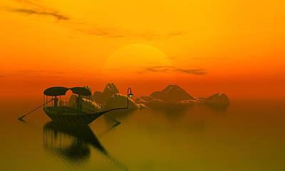 River Sunset Print by John Junek