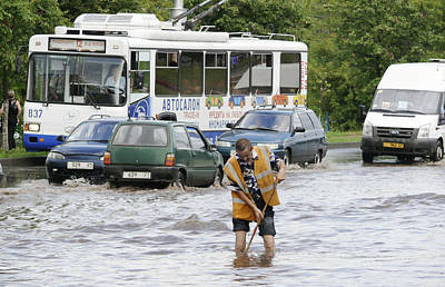 Flooding Photograph - Road Flooded By Heavy Rains by Ria Novosti