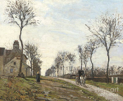 Horse And Cart Painting - Road In Louveciennes by Camille Pissarro