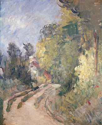 Road Turning Under Trees Print by Paul Cezanne
