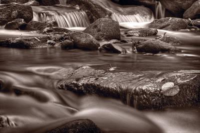 Roaring Fork Great Smokey Mountains Bw Print by Steve Gadomski