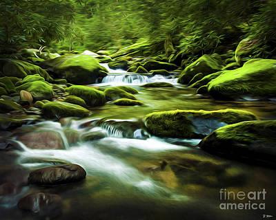 Roaring Fork Stream In Summer Print by Smokey Mountain  Art