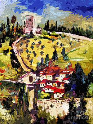 Italian Landscapes Painting - Rocca Maggiore Assisi Italy by Ginette Callaway