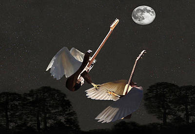 Flying Guitars Mixed Media - Rock Angels  by Eric Kempson