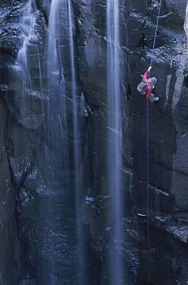 Sycamore Canyon Photograph - Rock Climbing Alongside A Waterfall by John Burcham