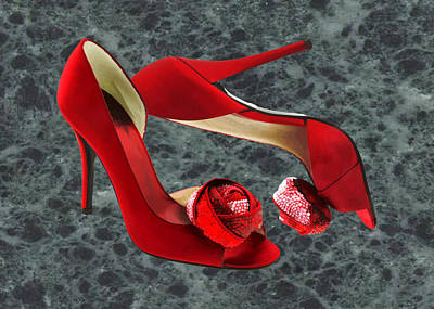 Stilettos Painting - Rock Me Red Pom Poms by Elaine Plesser