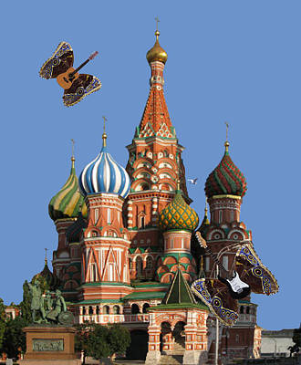 Flying Guitars Digital Art - Rock On Moscow by Eric Kempson