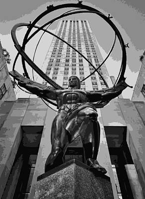 Rock The World Digital Art - Rockefeller Plaza Bw8 by Scott Kelley
