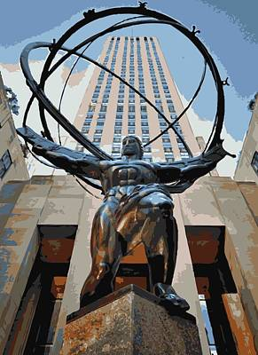 Rock The World Digital Art - Rockefeller Plaza Color 16 by Scott Kelley