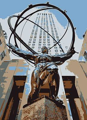 Rock The World Digital Art - Rockefeller Plaza Color 6 by Scott Kelley