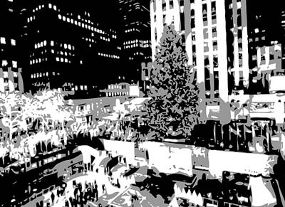 Rock The World Digital Art - Rockefeller Tree Bw3 by Scott Kelley