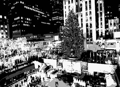 Rock The World Digital Art - Rockefeller Tree Bw8 by Scott Kelley