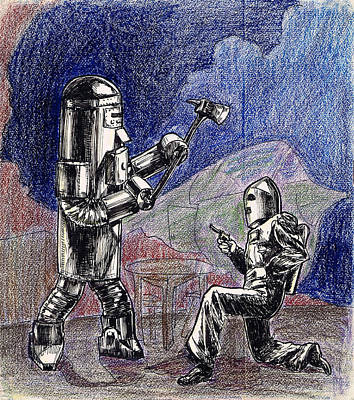 Rocket Drawing - Rocket Man And Robot by Mel Thompson