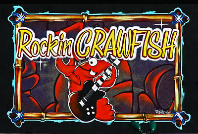 Rockin Crawfish Sign Print by Samuel Sheats