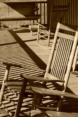 Rocking Chairs Digital Art - Rocking Chair Porch In Sepia by Suzanne Gaff