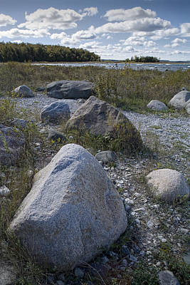 Rocks Along The Shore At North Point Print by Randall Nyhof