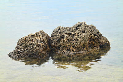 Rocks With Reflection Print by Rudy Umans