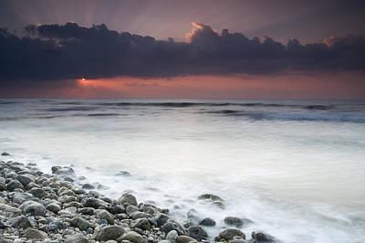 Rocky Beach At Sunrise Hawf Protected Print by Sebastian Kennerknecht