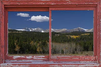 Picture Window Frame Photos Art Photograph - Rocky Mountain Autumn Red Rustic Picture Window Frame Photos Art by James BO  Insogna