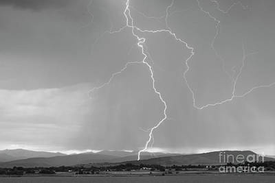 Rocky Mountain Front Range Foothills Lightning Strikes 1 Bw Print by James BO  Insogna
