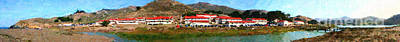 Rodeo Lagoon In The Marin Headlands California . Panorama . Painterly Style Print by Wingsdomain Art and Photography