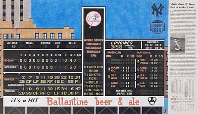Scoreboard Mixed Media - Roger Maris Hits Number 61 In 1961 by Marc Yench