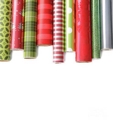 Rolls Of Colored Wrapping  Paper On White3 Print by Sandra Cunningham